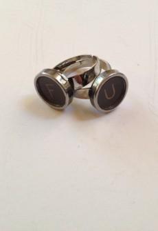 Vintage F U Keys Ring Set by Initial&Sign