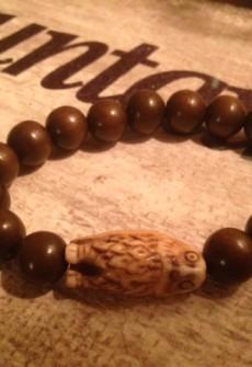 Owl Bead Stretch Bracelet by Janette J
