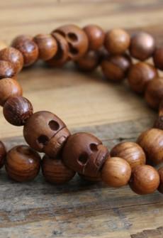 Broken Gypsy Brown Wood Skull Bracelet