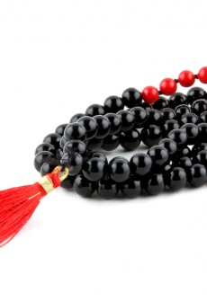 Karma Mantra Black Onyx and Coral Japa Mala