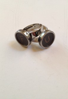 Vintage F U Keys Ring Set by Initial&Sign