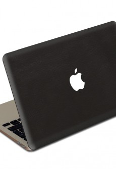 Black MacBook Leather Cover by Valentine Goods