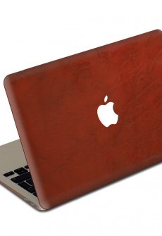 Crimson MacBook Leather Cover by Valentine Goods