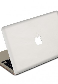 White MacBook Leather Cover by Valentine Goods