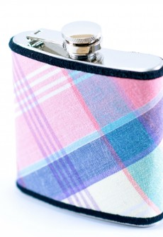 Pink & Blue Plaid Flask by Keelan Rogue