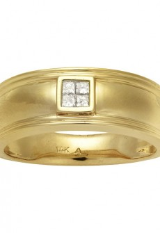 Monolith 14k Yellow Gold Men's 1/6ct TDW Diamond Wedding Band (H-I, I1-I2)