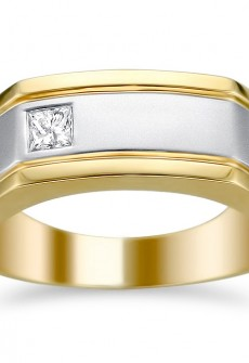 Monolith 14k Two-tone Gold 1/5ct TDW Diamond Men's Wedding Band (H-I, I1-I2)