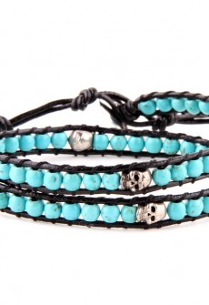 Turquoise & Skull Wrap Bracelet by Karma Mantra