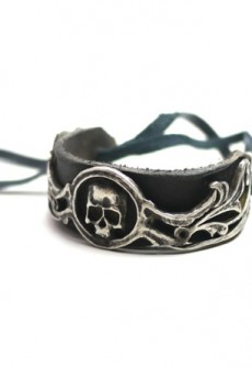 Sterling Silver Skull With Leather Band Cuff by Perry Gargano