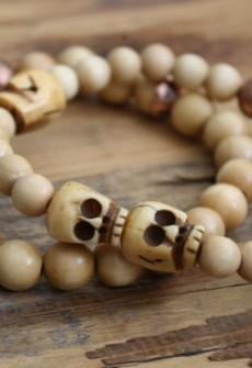 Broken Gypsy Light Wood Skull Bracelet