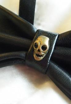 Esposito Leather Skull Bow Tie