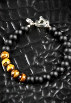 Tiger's Eye and Black Onyx Bracelet