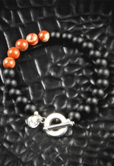 Red Jasper and Black Onyx Bracelet